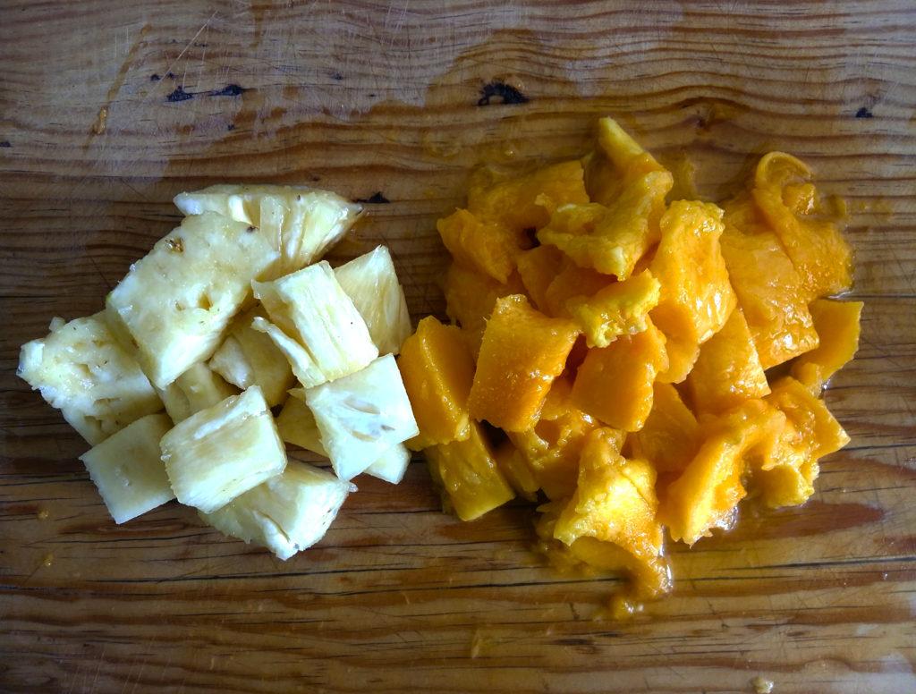 ingredientes mango y piña