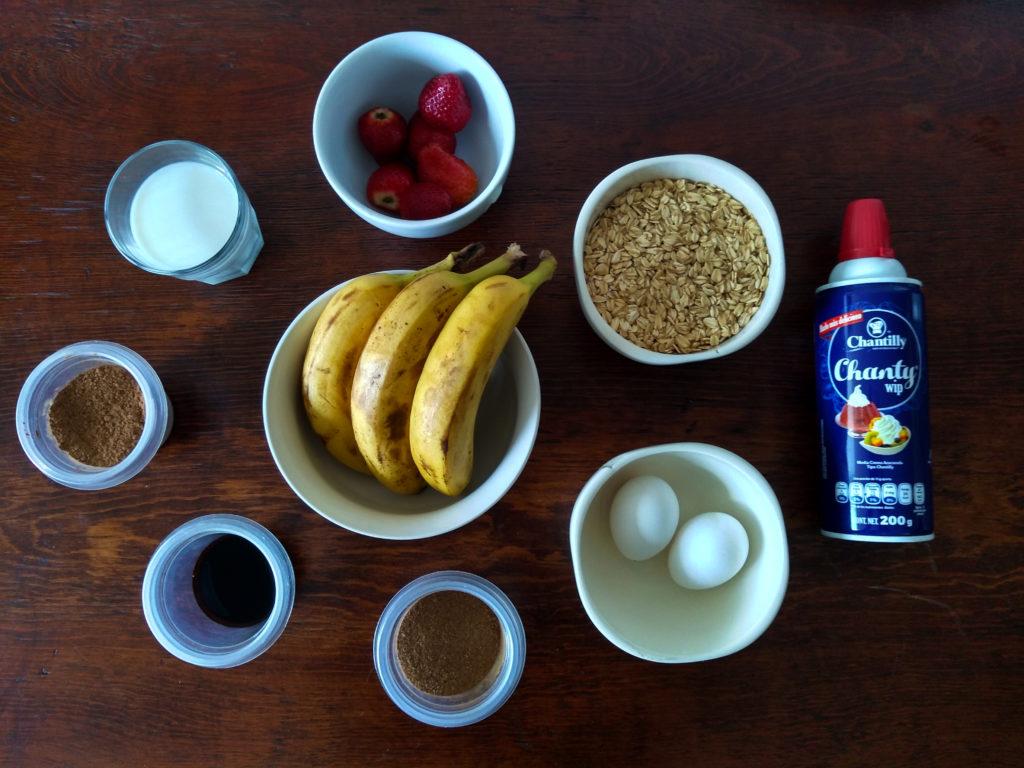 ingredientes para las crepas de avena